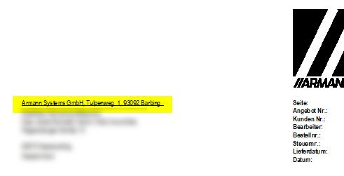 Auzug Lexware Druckformular mit Strich/Linie unterhalb der Absenderzeile