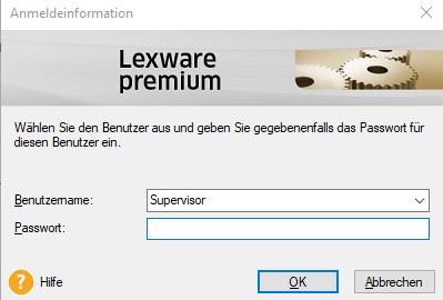 Lexware Login Anmeldebildschirm