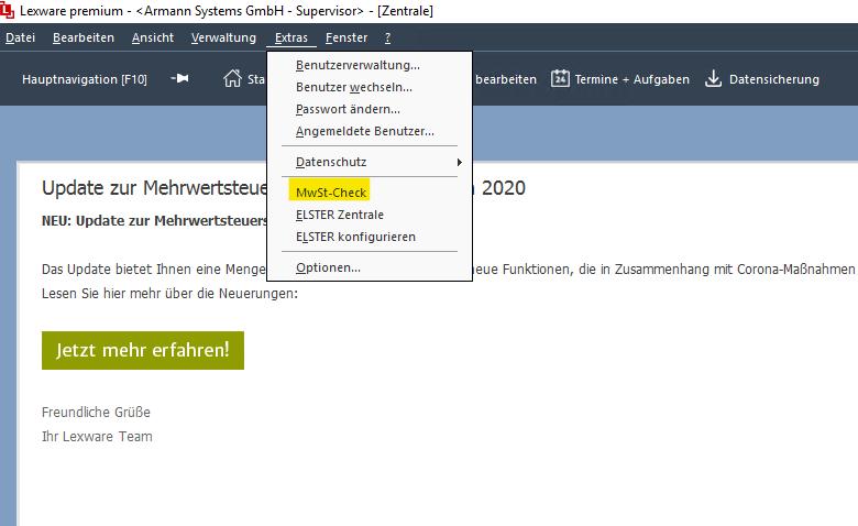 Lexware MwSt-Check in Lexware nach Update ausführen.
