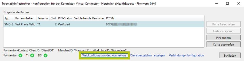 Card Manager von x.isynet für die TI Konnektorkonfiguration