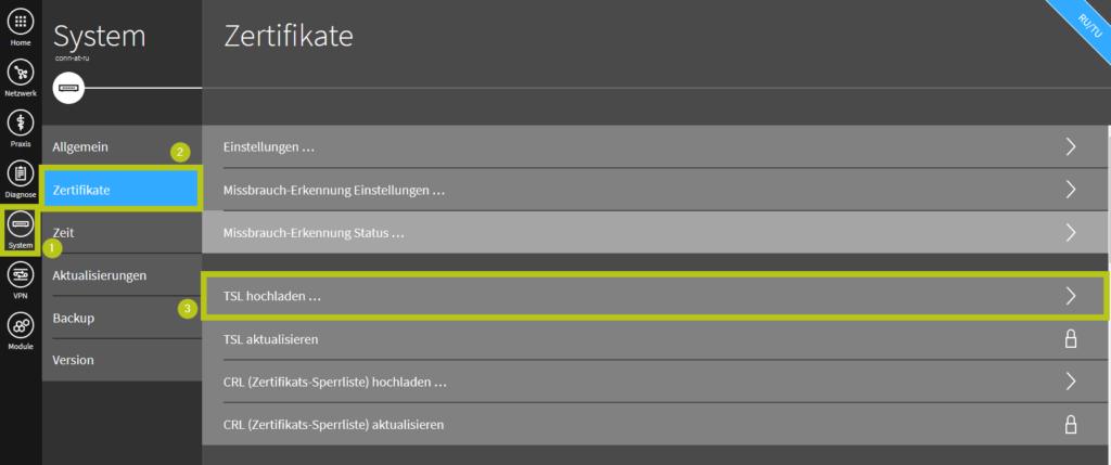 Im secunet Konnektor die Konfigurationsseite TSL Zertifikat hochladen