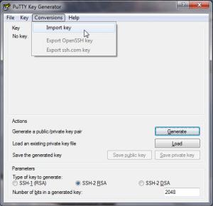 puttygen Programm zum Konvertieren der .pem in eine .ppk Datei