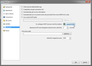 mRemoteNG Fenster für die Putty Konfiguration