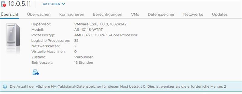 Screenshot VMware Warnmeldung HA-Taktsignal für diesen Host beträgt 0 - VMware vSphere 7