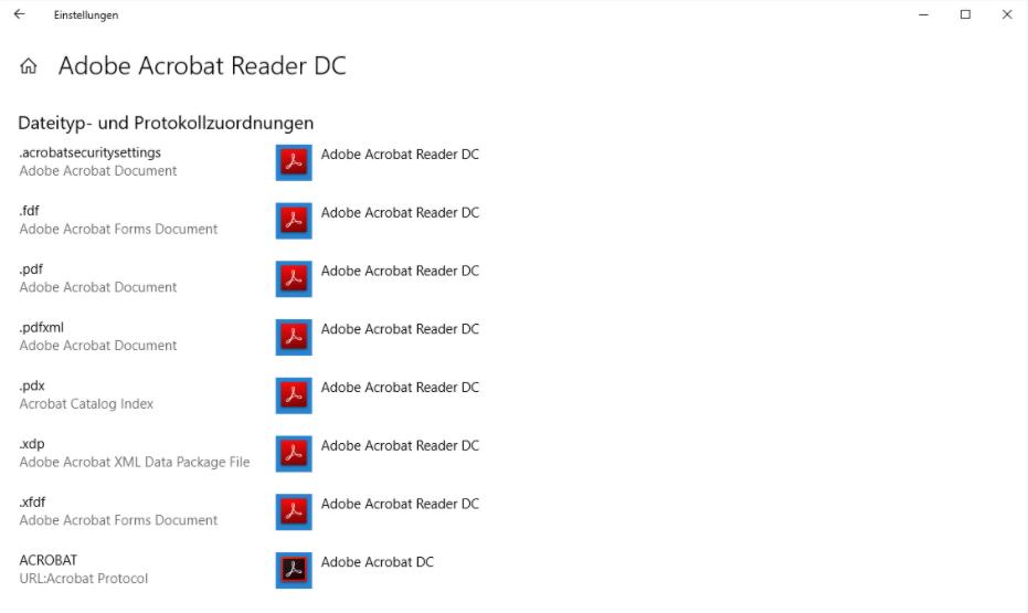 Adobe Acrobate Reader DC Dateityp- und Protokollzuordnungen