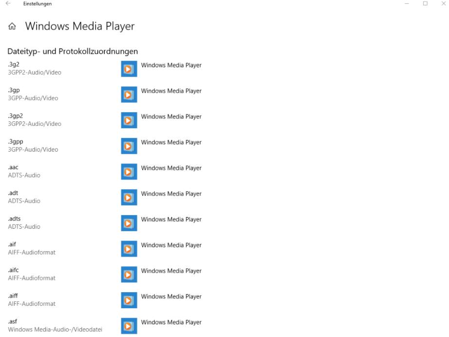 Windows Media Player Dateityp- und Protokollzurdnungen