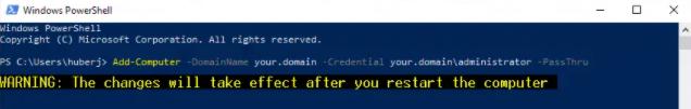 PassThru kann einige Basisinformationen über das Ergebnis des Domain – Joins ausgeben.