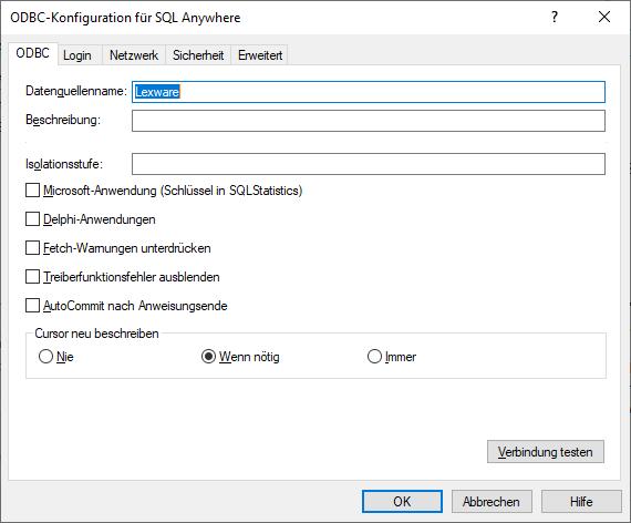 ODBC 64 Bit Konfiguration für Lexware Datenbankzugriff