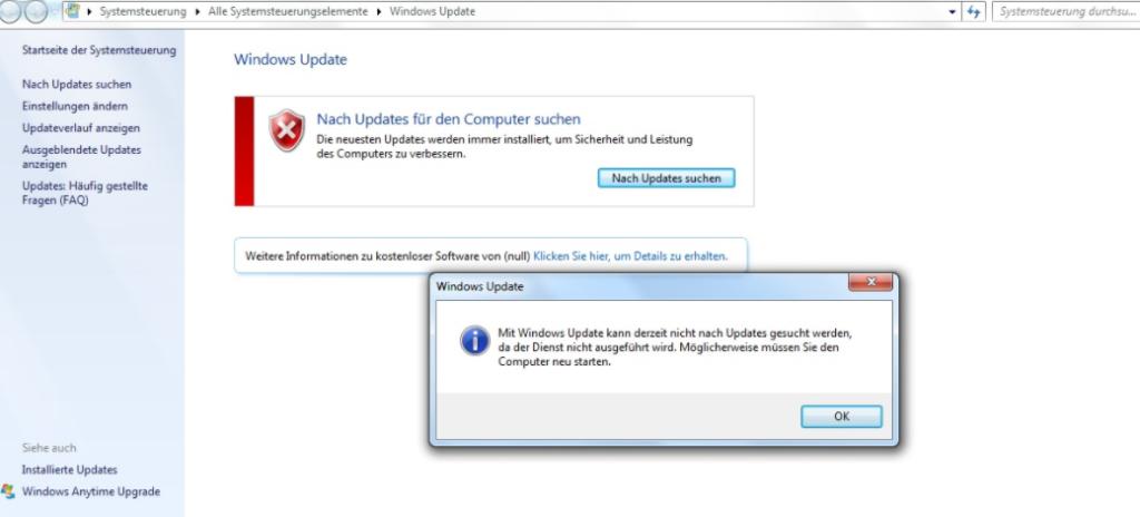 Fehlermeldung bei Windows 7: Mit Windows Updates kann derzeit nicht nach Updates gesucht werden,...